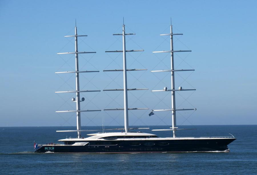 Legendary sailing superyacht Black Pearl docked in Saint-Petersburg
