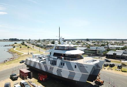 The 39.5 meter tri-deck catamaran The Beast is launched