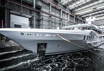 First Amels 220 superyacht, Project Waka touched the water
