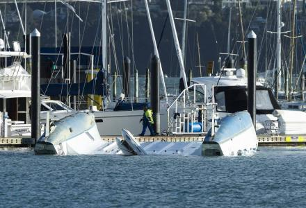 Extreme weather in Auckland damages Westhaven marina