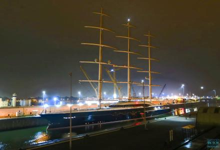 The world's largest sailing superyacht Black Pearl back in Holland