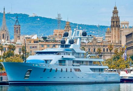 The third richest Russian man's 85m yacht Pacific spotted in Barcelona
