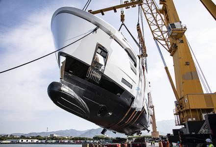 New launch: the first Baglietto 37m yacht DOM123 hits the water