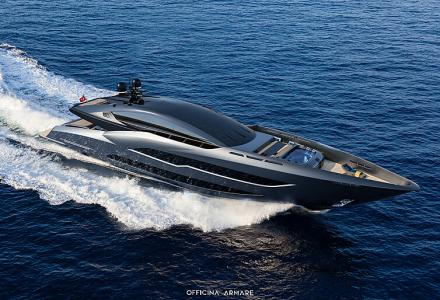 The all-black 41m sporty superyacht concept BadGal by Officina Armare